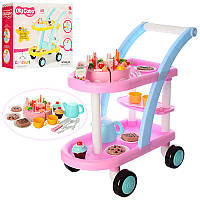 Тележка детская игровая для посуды и продуктов, 60 предметов, продукты, сладости, коробка 50,5-40,5-15,5 см,
