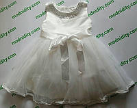 """Детское нарядное белое платье с бантом без кружева """"Леди"""""""