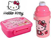 "Набор ""Hello Kitty"". Контейнер для завтрака (ланчбокс) + бутылка с трубочкой"