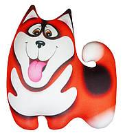 Антистрессовая игрушка Собака Хаски 27х27 малый Серый Светло-серый Красный