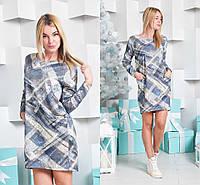 Женское модное платье свободного кроя с карманами принт-1, 42-44