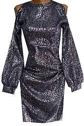 Платье женское 371 открытые плечи с напылением (деми)
