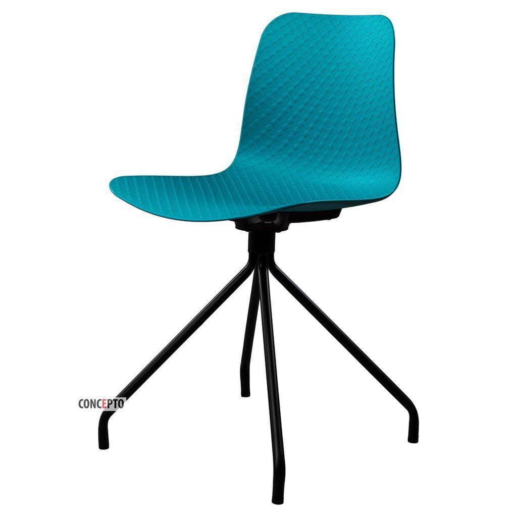 Velvet (Вельвет) Concepto стул пластиковый бирюзовый (чёрные ножки)