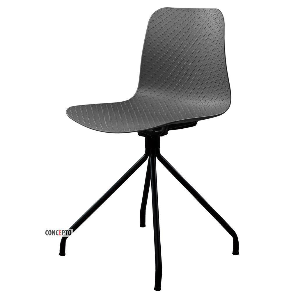 Velvet (Вельвет) Concepto стул пластиковый серый (чёрные ножки)