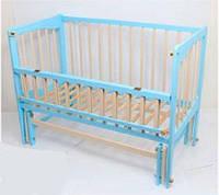 """Кроватка-качалка детская откидной бортик """"Кристинка"""" комбинированный голубой+слоновая кость"""