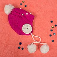 Вязаная шапка для девочки с флисом внутри на завязках фуксия CMF W16-16 04 Fuxia