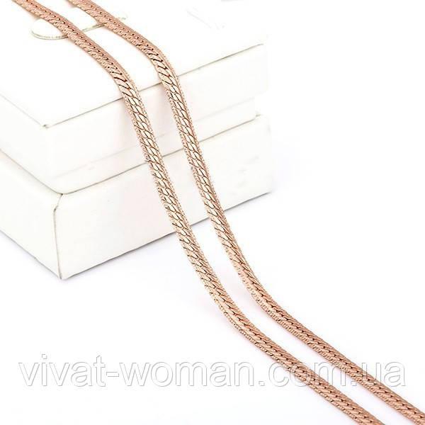 Цепочка, покрытие золотом 18К, 50 см, 4 мм
