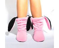 Тапочки Зайчики розовые с черными ушами Код:101-97323