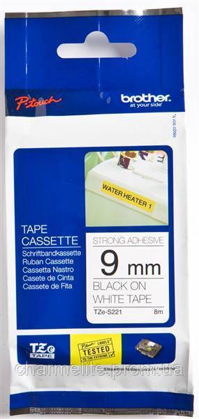 Термо-лента Brother 9mm суперклейкая, черный на белом