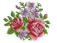 """Схема для вышивки на водорастворимом флизелине """"Розы и анютины глазки"""""""