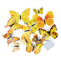 Бабочки 3D, PVC Пластик, Магнит на холодильник, Желтый, 12 см x 10.6 см