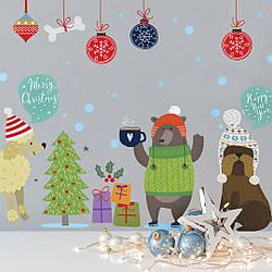 """Новорічні наклейки на стіну """"Новорічні собаки"""""""