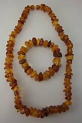 Комплект бусы и браслет из натурального янтаря