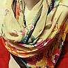 Шарф шёлковый бежевого цвета с цветами