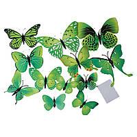 Бабочки 3D, PVC Пластик, Магнит на холодильник, Зелёный, 12 см x 9.3 см