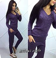 Стильный костюм вязаный женский теплый: свитер и штаны шерсть и акрил (5 цветов)