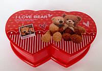 """Музыкальная шкатулка """" I love bear """"с балериной красного  цвета"""