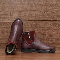 71402| Женские ботинки -зимние на низком ходу. Бордовые из натуральной кожи