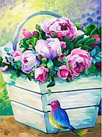 """Набор картина """"Букет пионов"""" (35x45) акриловая живопись"""