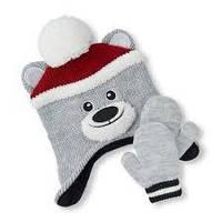 Детская зимняя флисовая шапка-ушанка и варежки для мальчика The Childrens Place (США)