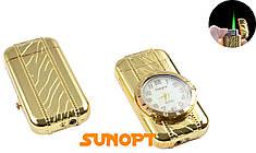 Зажигалка карманная с часами (Турбо пламя) №XT-3921 Gold