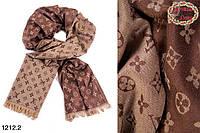 Бежевый кашемировый стильный шарф Louis Vuitton