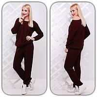 Женский модный вязаный костюм с узором: свитер и брюки (11 цветов) малина, 42-46