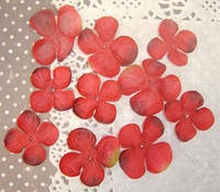Лепестки шелковые Гортензия красная 10 шт