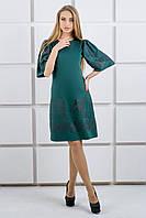"""Платье с ажурной накаткой """"Марлет"""" р. 44-52 темно-зеленый"""