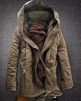 Стильная зимняя мужская парка пальто с капюшоном