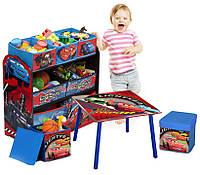 Комод органайзер для детских игрушек Тачки + столик + 2 пуфа