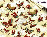Корейский 100% хлопок с золотым напылением - Золотистые бабочки, плотность 160 г/м2, минимальный отрез 55x45 см
