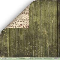 Лист двусторонней бумаги от ScrapМир, Cozy Forest (Уютный Лес) — Зелёные доски, 30x30 см, 1 шт
