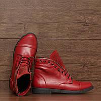 70941  Женские ботинки -демисезонные на низком каблуке. Красные из натуральной кожи 37