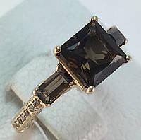Кольцо с раухтопазом золотое 585 проба