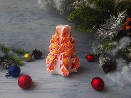 Резная свеча бело-оранжевая без декора, фото 2