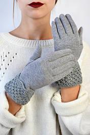 Женские перчатки трикотажные с манжетом Эклер