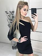 Платье женское чёрное мини с одним рукавом