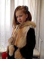Шуба детская натуральная для девочки из стриженой нутрии и лисички