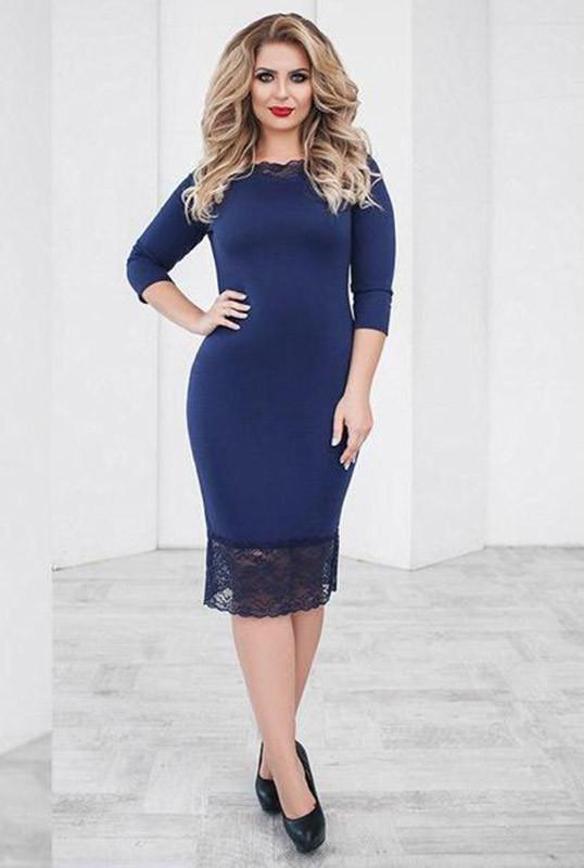 Батальное нарядное платье  -ЯСМИНА-  темно-синий