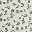 Копия Декоративная ткань, хлопок 70%, полиэстер 30%, с новогодним принтом, молочно-серый, фото 2