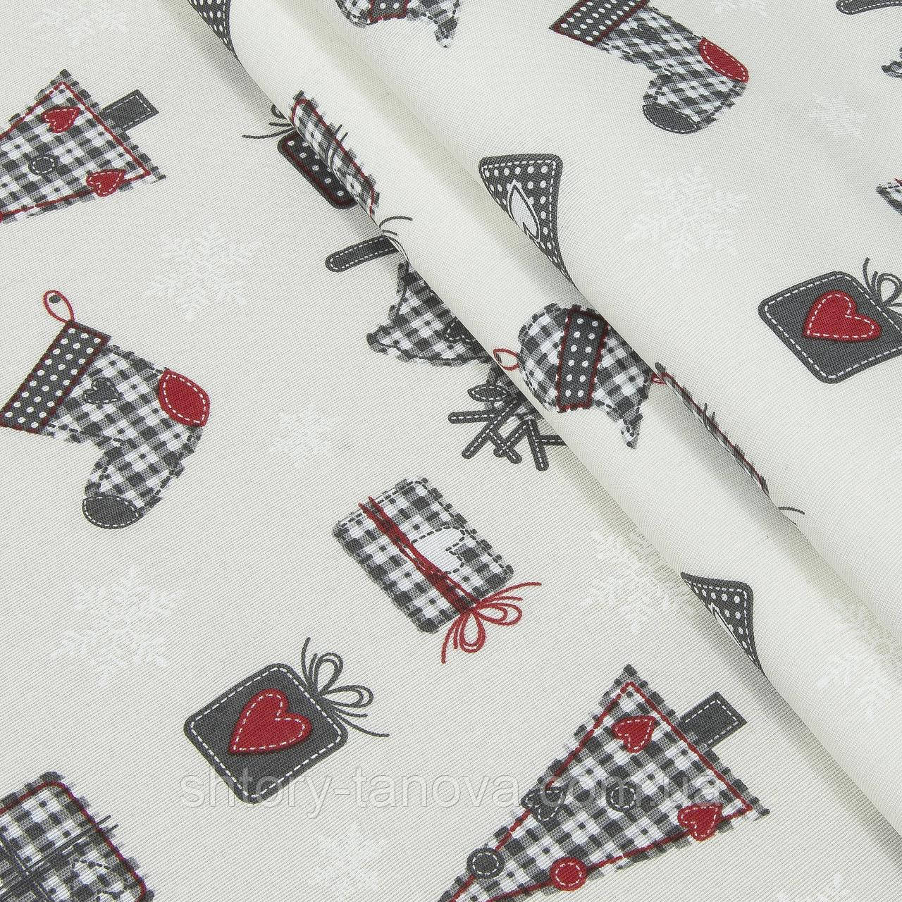 Копия Декоративная ткань, хлопок 70%, полиэстер 30%, с новогодним принтом, молочно-серый