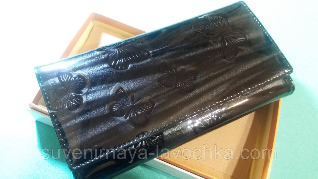 Женский кошелек из натуральной кожи ( Лак  Черный ) Cossroll на магните