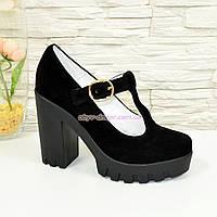 Женские замшевые туфли на высоком устойчивом каблуке, фото 1