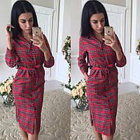 Женское модное платье рубашка в клетку красный, S