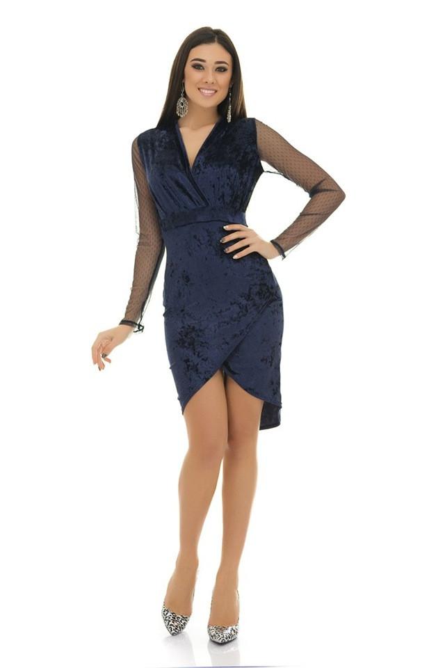 693dcb61b53 Нежное бархатное платье на запах Glenn с рукавами из гипюровой сетки (3  цвета) -