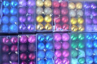 Елочные шары 16 штук в упаковке диаметром 4 см