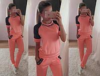 Женский красивый костюм с украшением: футболка и штаны (7 цветов)
