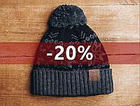 Зимняя шапка Staff серо-черная с помпоном, KS0005-3
