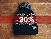 Зимняя шапка Staff черно-белая с помпоном, KS0064-1